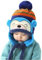 BIBITIME Infants Baby Crochet Earflap Knitted Monkey Hat Scarf Winter Beanie Cap Hats Set with Pompom Earflaps Hanging tether