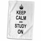 """3D Rose Keep Calm Carry on Studying-College School Or University Student Funny Humor Gifts Towel, 15"""" x 22"""""""