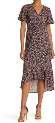 Luna Chix Floral Surplice Short Sleeve Midi Dress