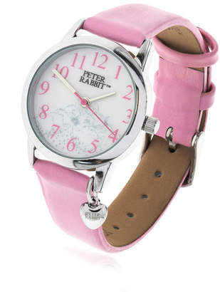 Beatrix Potter Children Sleeping Bunnies Silver Steel Case and Pink Leather Watch 28mm