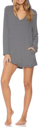 Splendid Soft Sweet Striped Hoodie Cover-Up Tunic