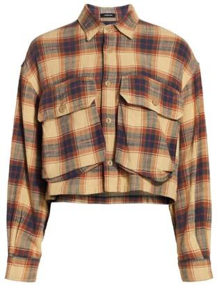 R 13 Oversized Plaid Cropped Jacket