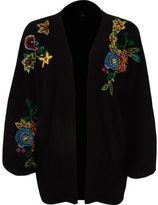 River Island Womens Black chunky rib knit embroidered cardigan