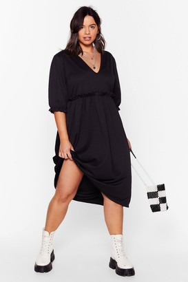Nasty Gal Womens Frill Doing Our Own Thing Plus Midi Dress - Black