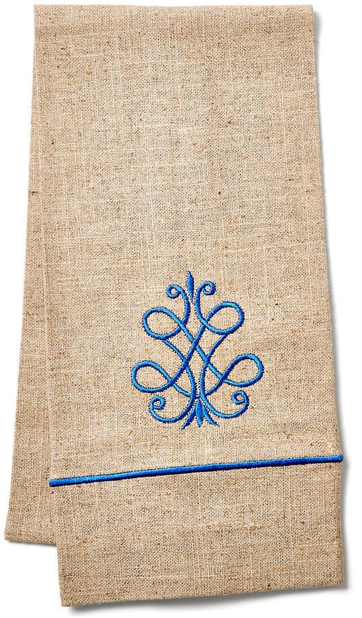 Jacaranda Living French Scroll Guest Towel, Cobalt