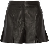 Tibi Pleated leather shorts
