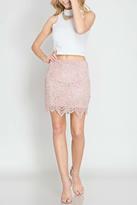 She + Sky Scallop Lace Mini Skirt