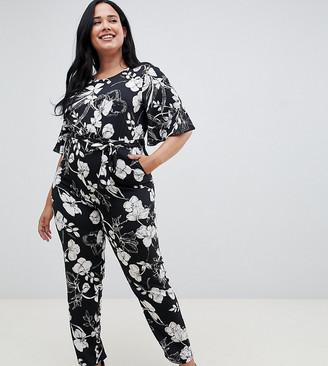 Yumi plus short sleeve floral monochrome jumpsuit