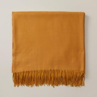 Oui Herringbone Super-Soft Throw Blanket Soft Gold