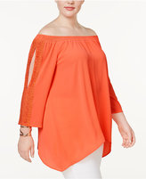 NY Collection Plus Size Lace-Trim Off-The-Shoulder Tunic