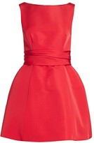 Brandon Maxwell Sleeveless Silk Sash Bubble Dress