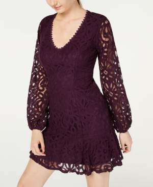 City Studios Juniors' Lace Illusion-Sleeve Dress