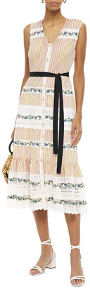 Saloni Lorna Embroidered Lace-paneled Striped Cotton-poplin Midi Dress