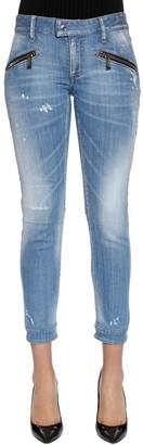DSQUARED2 Washed Cotton Denim Biker Jeans
