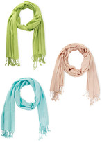 Saachi Solid Fringe Scarf - Set of 3