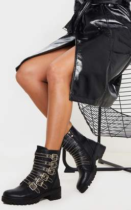 PrettyLittleThing Black Studded Buckle Strap Cleated Biker Boot