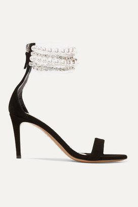 Alexandre Vauthier Coco Faux Pearl And Crystal-embellished Pvc And Suede Sandals - Black