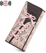 "UTO Women Long Wallet PU Leather Clutch 5.5"" Phone Case 12 Card Slots Holder Zipper Pocket Purse"
