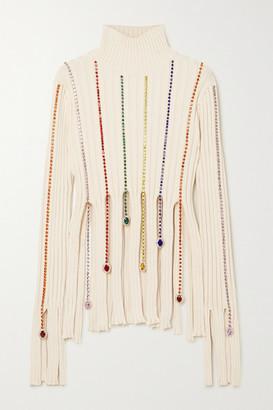 Area Fringed Crystal-embellished Ribbed Cotton-blend Sweater - Ivory
