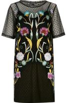 River Island Womens Black embroidered mesh T-shirt dress