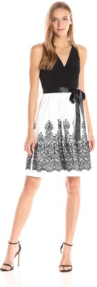 Chetta B Women's Halter Party Dress Embroidered Skirt