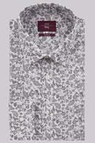 Moss Esq. Regular Fit Navy Single Cuff Paisley Stripe Shirt