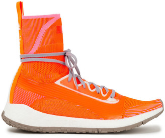 adidas by Stella McCartney Logo-appliqued Neon Stretch-knit Sneakers