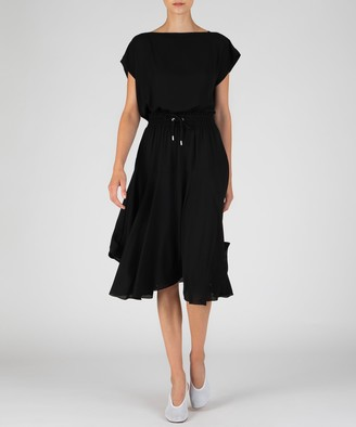 Atm Georgette Gathered Waist Dress - Black