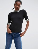 Monki Contrast Trim T-Shirt