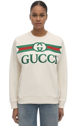 Gucci Embroidered Logo Crewneck Sweatshirt