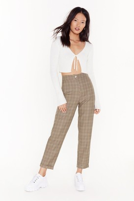 Nasty Gal Womens Just Got Plaid High-Waisted Tapered Trousers - beige - 6