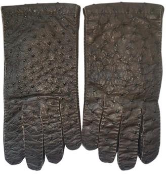 Prada Brown Ostrich Gloves
