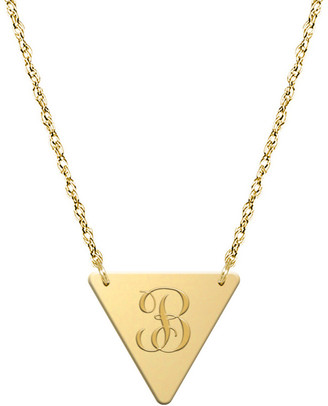 Jane Basch 14K Script Initial Triangle Necklace (A-Z)