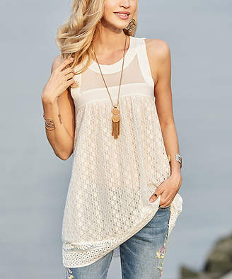 Suzanne Betro Women's Tank Tops 101white - White Mesh Lace-Yoke Sleeveless Tunic - Women & Plus