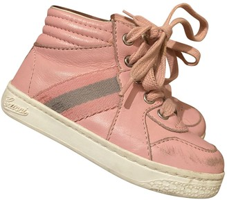Gucci Pink Leather Lace up boots