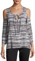 MICHAEL Michael Kors Cold-Shoulder Tie-Front Blouse, Gray Pattern