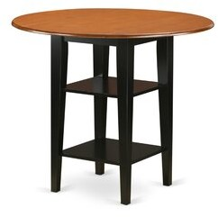 Charlton Home Tyshawn Drop Leaf Solid Wood Dining Table Base Color: Black