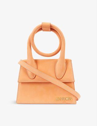 Jacquemus Le Chiquito Noeud medium suede top handle bag