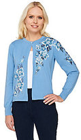 Bob Mackie Bob Mackie's Floral Embroidered Cardigan with Sequin Detail
