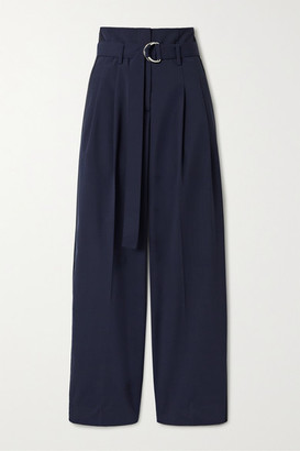 La Ligne Belted Woven Tapered Pants - Navy