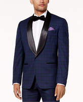 Sean John Men's Classic-Fit Blue, Black & Purple Plaid Stretch Tuxedo Jacket