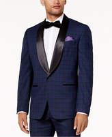 Sean John Men's Classic-Fit Blue, Black & Purple Plaid Stretch Tuxedo Jacket