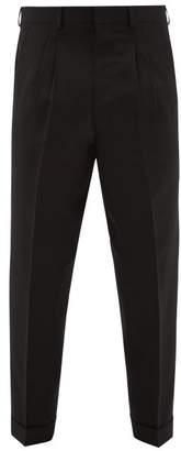 Ami Tapered Leg Wool Twill Trousers - Mens - Black