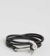 Seven London Anchor Leather Wrap Bracelet In Black Exclusive To ASOS