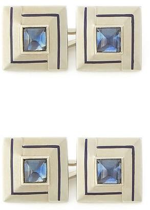 Foundwell Art Deco Sapphire and Enamel Cufflinks Bracelet