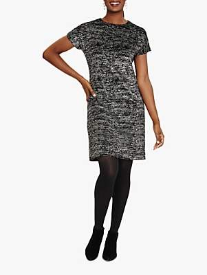 Phase Eight Addison Sparkle Tunic Dress, Black/Silver
