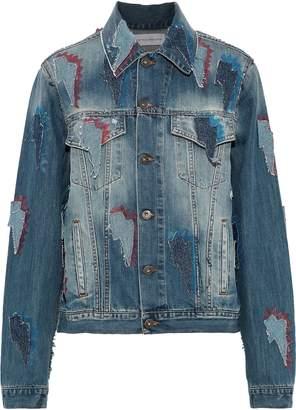 Faith Connexion Appliqued Distressed Printed Denim Jacket