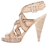 Oscar de la Renta Snakeskin-Trimmed Crossover Sandals