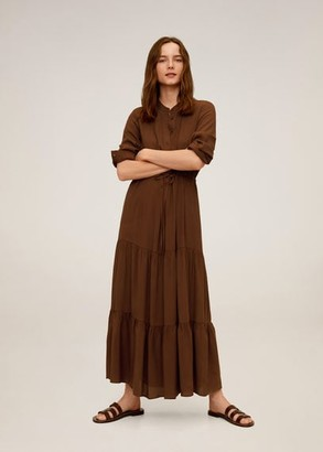 MANGO Ruffle gown brown - 2 - Women