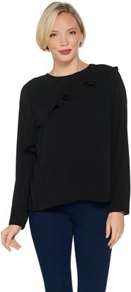 Vince Camuto Long-Sleeve Asymmetric Ruffle Shoulder Blouse